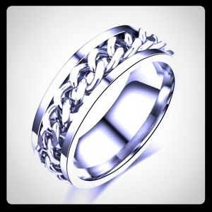 Unisex Silver Spinning Chain Ring